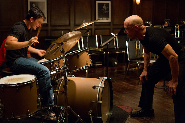 Miles Teller and J K Simmons in Whiplash
