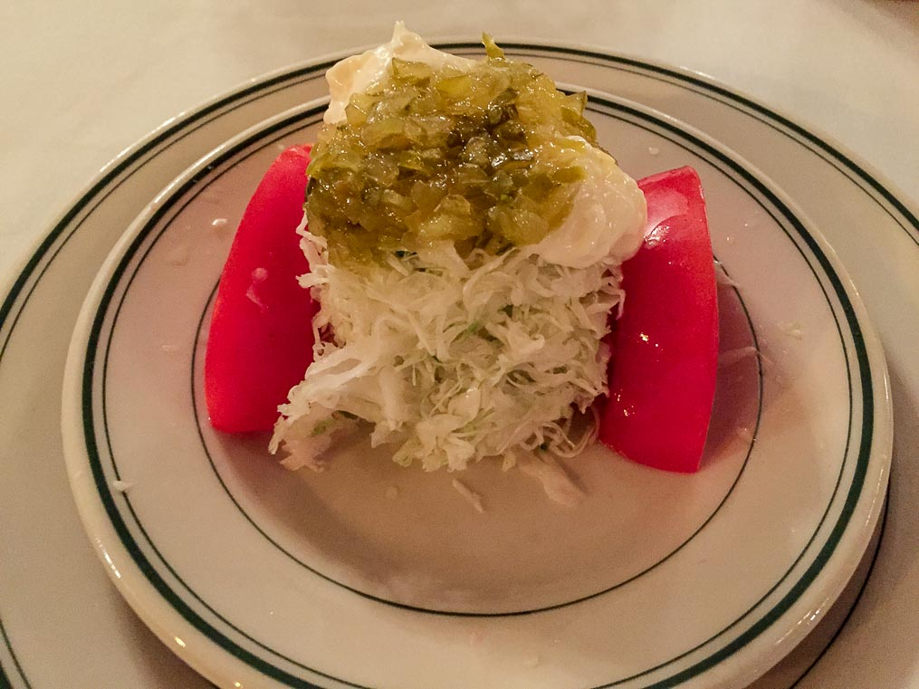 Deconstructed cole slaw, the starter course at Joe's