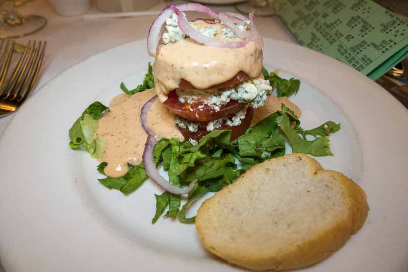 Tomato Blue Cheese Napoleon--a big stack of salad.