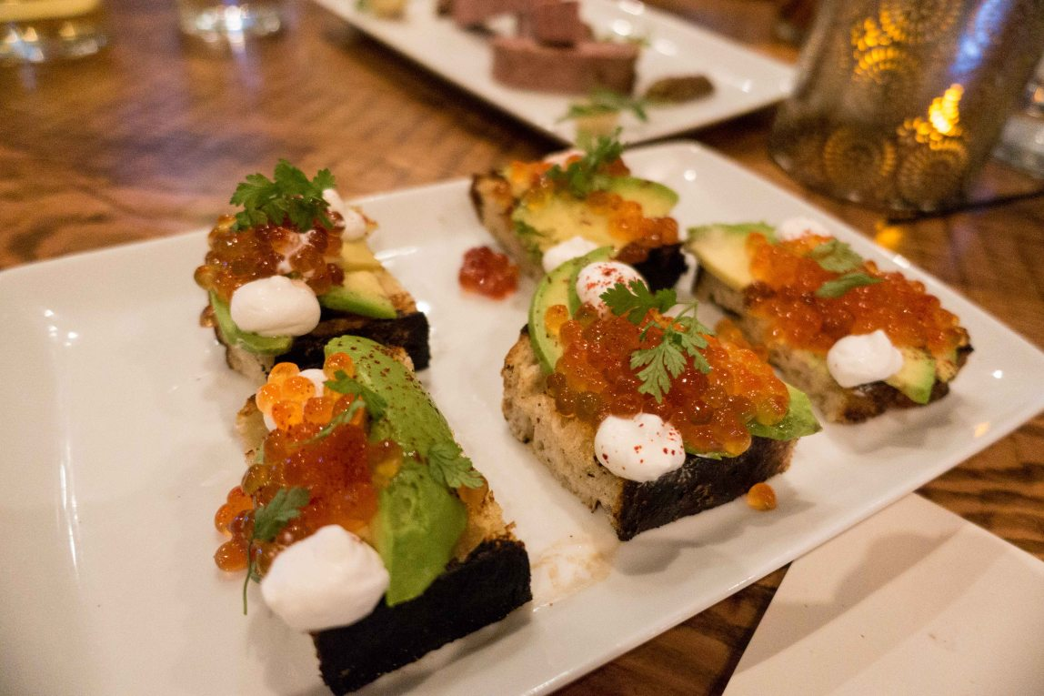 house cured roe, avocado and creme fraiche on grilled bread.
