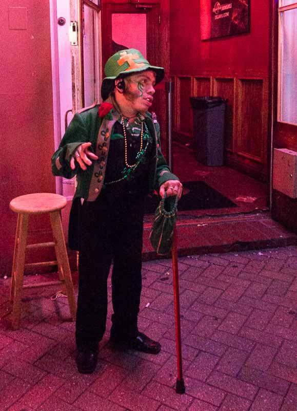 The leprechaun is a doorman at a strip club