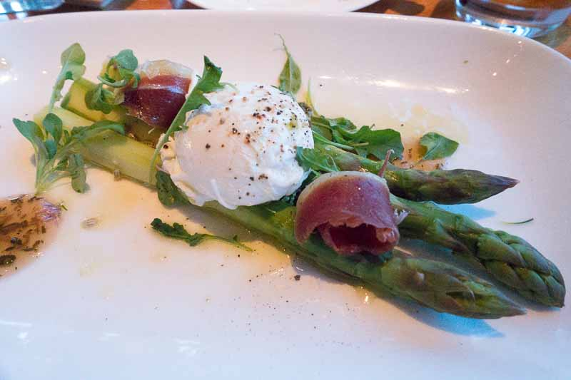 Asparagus, poached egg and duck prosciutto.