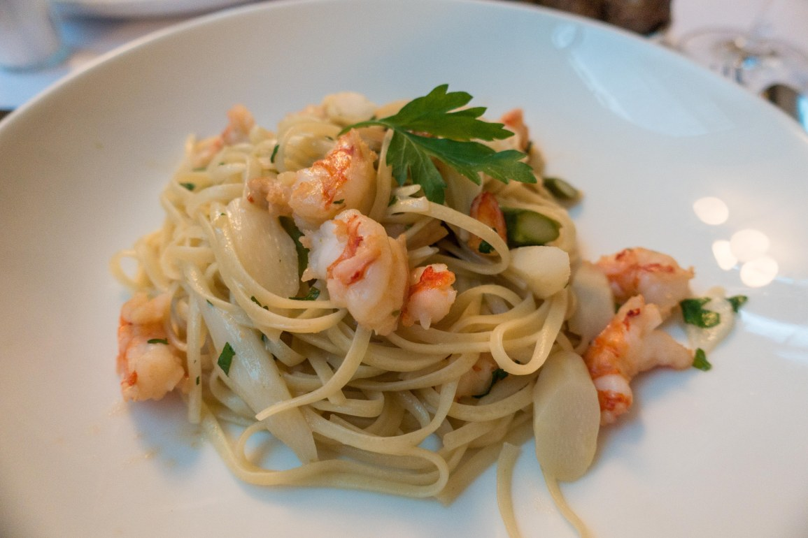 linguini and scampi with white and green asparagus