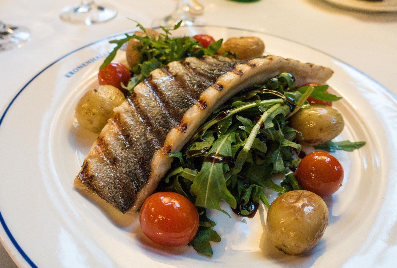 As lovely a presentation of sea bass as you will ever see.