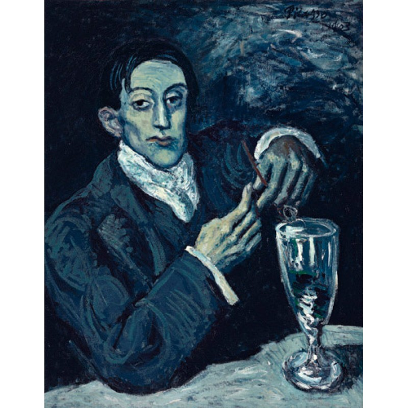 The Absinthe Drinker, from Picasso's blue period
