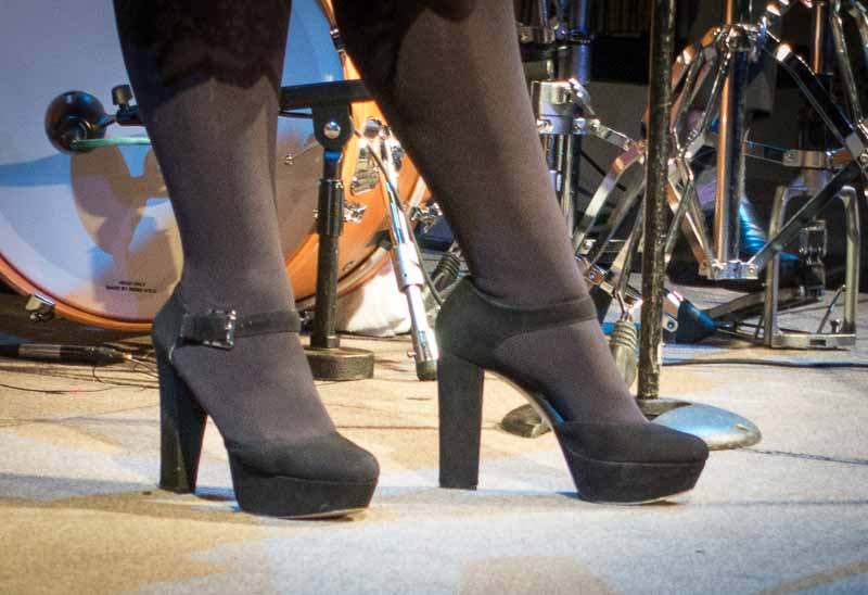 The cool shoes went well with the cool jazz.