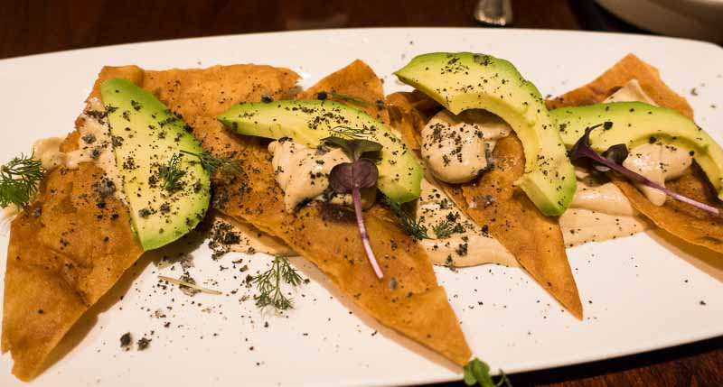 Miso chips with tahini and avocado