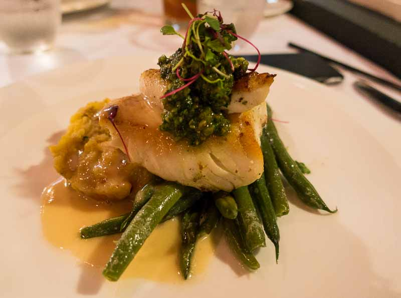 Halibut, pesto, green beans and a pumpkin/potato cake