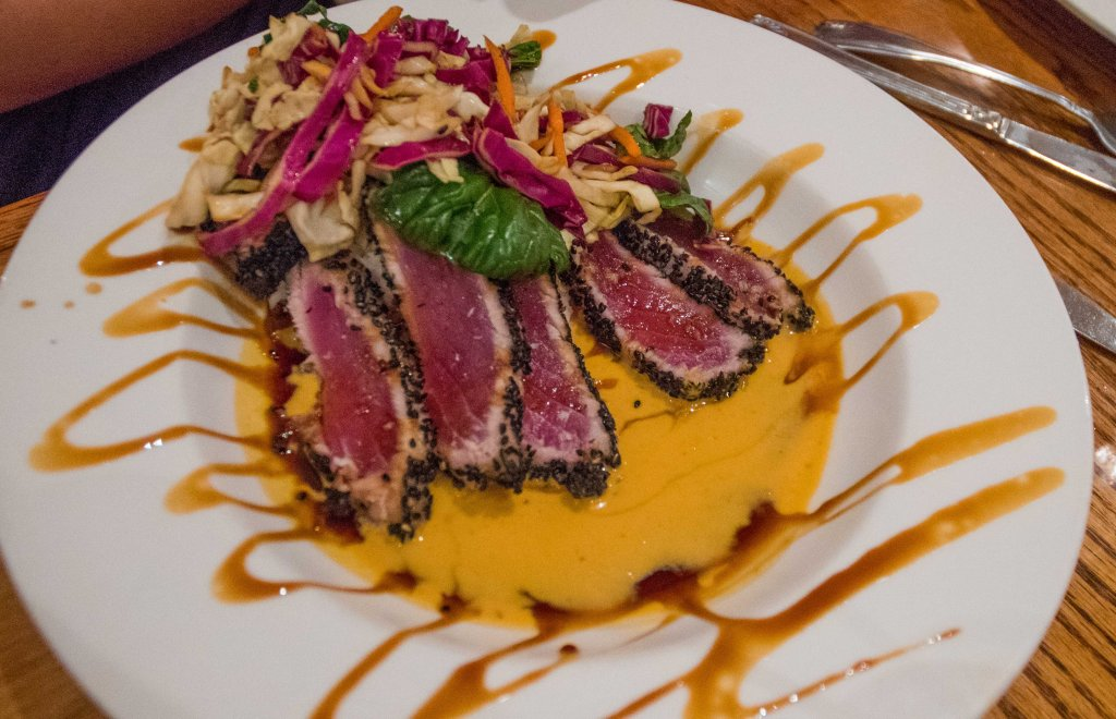 Sesame crusted ahi in Thai curry